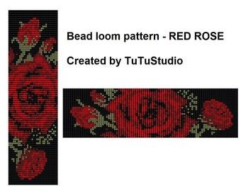 Bead loom pattern - RED in BLACK ROSE