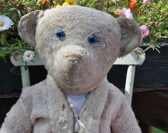 1910 HUGE American white mohair teddy bear BLUE glass eyes