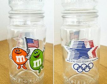 1984 Olympics Glass M & M Jar. Commemorative Olympic Jar.