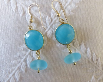 Gold-Filled Turquoise Drop Earrings, GE-168