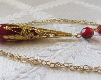 Gold Filled Necklace with Gold Filigree & Red Drop Necklace, GN-183