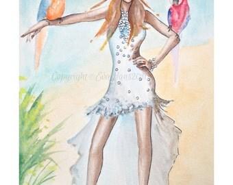 "Watercolour Fashion Bridal Illustration ""Rio Bravo"" with Free Shipping Standard Delivery"