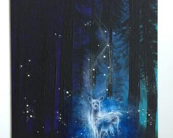 Harry Potter Inspired Patronus Painting-5x7 Original Fine Art