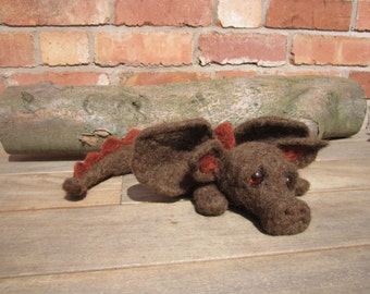 Large Needle felted Dragon. He Looks sad - needs a home.