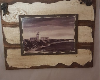 Rustic Wood Wall Hanger with Lighthouse Print