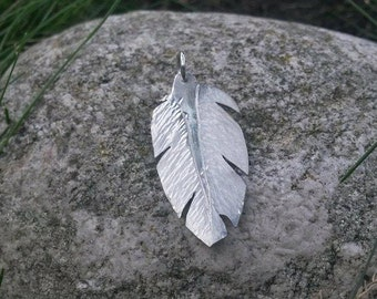 Silver feather pendant - white feather