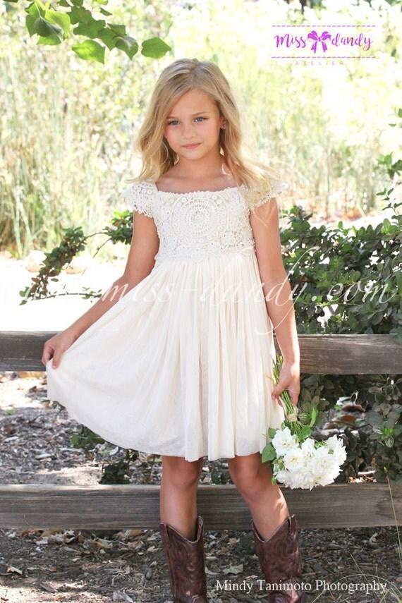 Sienna Dress- *In Stock Ready To Ship!* Beige / Tan Crochet Bohemian Style Flower girl Dress, Romantic Flower Dress Wedding dress