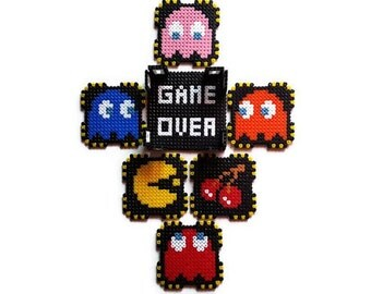 6 coasters Pacman + base Game Over [Pixel Art beads Hama]