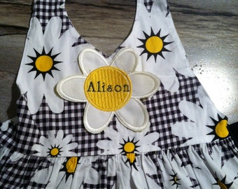 Daisies Dots and Checks Little Lady Apron, Small, Medium & Large Child Sizes