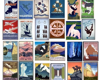 WPA Posters Collection, 6 Collage Sheets with 24 Vintage Posters, Travel, National Parks, Aviation, and Zoo Themes