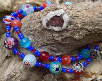CLEARANCE***Unique multi-colored blue lampwork glass beaded bracelet