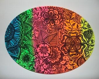 Neon-Ombre Leinwand mit Henna