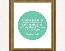 Children's Blessing-Bendicion para sus hijos-Isaiah Isaias 54:13-Bible quote verse-Bible wall art-Verso de la Biblia-Decoracion Cristiana-