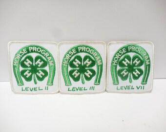 Vintage 4H 4 Leaf Clover Patch 4 H Horse Program Lot of 3