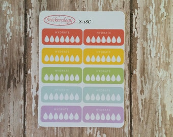 Hydrate Stickers, Rainbow Hydrate Stickers, Small Hydrate Stickers,  S-18C.