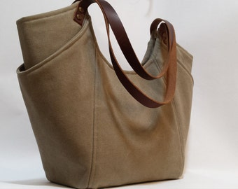 Sage Gray Canvas Tote with Leather Straps; Canvas Handbag, Shoulder Bag, Everyday Purse