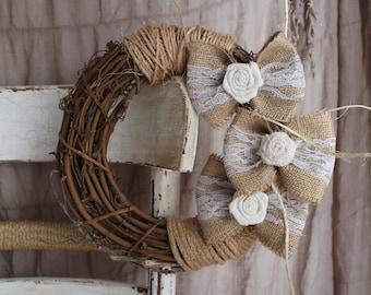 Wall wreath, Door decor Wreath, Shabby chic wreath, Burlap Bow Wreath, Wedding wreath, Wall Hanging Branch, Living Room decor, Wall Branch