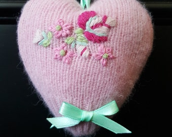Beautiful hand-crafted Floral Pink Cushion Keepsake Scented Heart with Mint Green Satin Bows