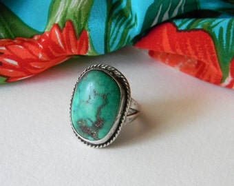 Green Turquoise Ring Sterling Silver Southwest - Sterling Turquoise Ring Sterling Silver Chunky