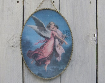 Angel wall art Flue Cover, Oval picture chain frame, Stove pipe cover, Angel protecting child art, Angel, Vintage Angel art, Chimney Covers