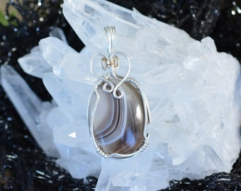 Petite Wire Wrapped Botswana Agate in Argentium Silver, Handmade Black Banded Stone Necklace