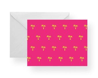 Note Cards Palm Trees (Set), Stationary, Palm Tree Stationary, pink note cards, pink stationary