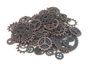 100 Steampunk Cogs Gears Machinery Mix Sizes/Designs