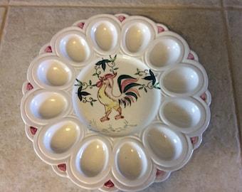 Vintage Rooster Deviled Egg Plate, Ceramic