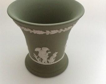 Vintage Wedgwood Green Jasperware Vase