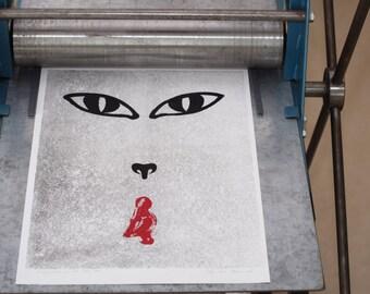 Red Riding Hood Monotype/linocut