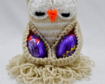 Chocolate Egg Owl Knitting Pattern, Easter Egg Knitting Pattern, Owl Knitting Pattern