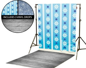 Blue Snowflake Wallpaper Vinyl Backdrop Kit (VINYLKIT-BSFLK)
