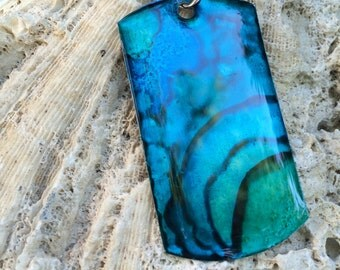 Alcohol Ink Blue & Teal Dog Tag Necklace