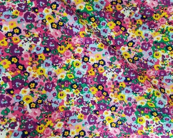 Bamboo spandex abstract multicolored floral 8.5-9oz Eco-Friendly NATURAL FiBER by the yard