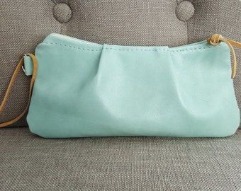 Small Green Leather Clutch Purse