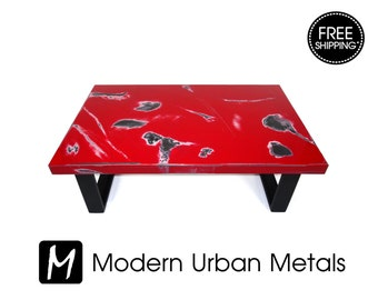 FREE SHIPPING - Urban Coffee Table, Urban Industrial Contemporary Loft Furniture, Commercial Retro Abstract Art, Modern Urban Metal, Red