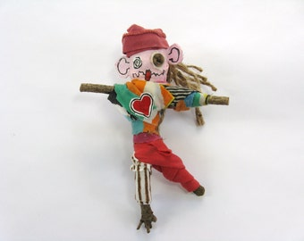 Male Voodoo Doll with a Red Hat, Made from Found Objects and Upcycled Materials, Novelty or Birthday Gift, Pin Doll or Poppet