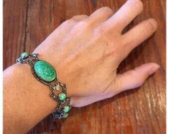 Beautiful PekingJade 1920s Bracelet