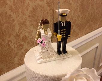 Custom Lego brick miniland figure Bride and Groom wedding cake topper Keepsake