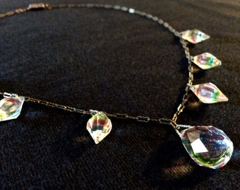Vintage rainbow Art Deco Czech cut Crystal Necklace
