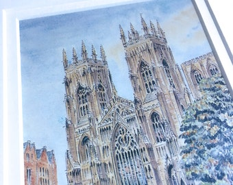 "Vintage Watercolour Print of West front of York Minster Cathedral in Vintage Metal Frame - 8.5"" x 10"""