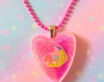 Kawaii pink necklace Little Twin Stars