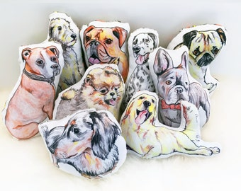 Squeaky canvas soft dog toy | eco-friendly | bulldog, frenchie, dachshund, retriever, wolfhound, dalmatian, boxer, pomeranian, pug