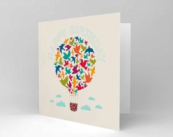 New Happy Birthday Hot Air Baloon Birds Greetings Blank Greetings Card Cs1014
