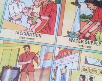 "Vintage India School Chart: ""Municipal Services"""