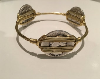 US Silver quarter and brass wire bangle, Bangle Bracelets, Wire Wrapped Bracelets, Gifts for her
