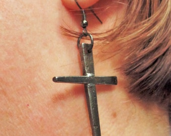 Horseshoe Nail Cross Earrings