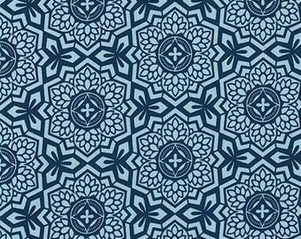 1 Yard Joel Dewberry Botanique Mosaic Bloom Deepwater, Navy Blue Fabric, PWJD087.DEEPW
