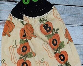 Boo Towels, Pumpkin Towels, Fall Towels, Halloween Towels, Set of 2