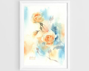 "Original watercolor,sweet roses,original painting,7""x10"",aquarelle originale,garden,home decor"
